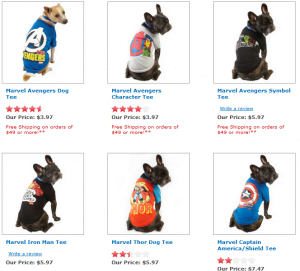 Superhero dog shirts. Marvel dog clothes.