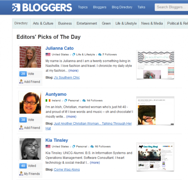 Editors' picks of the day - bloggers.com