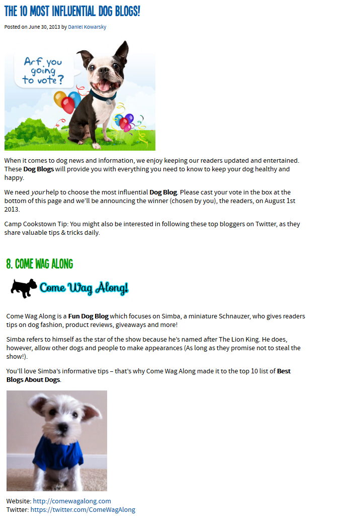 10 most influentional dog blogs