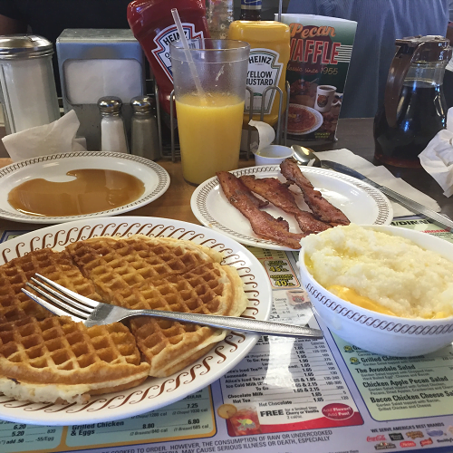 pregnancy cravings - waffle house - waffles - grits - bacon