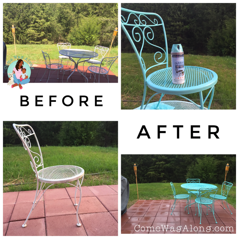 before and after ucycled patio furniture