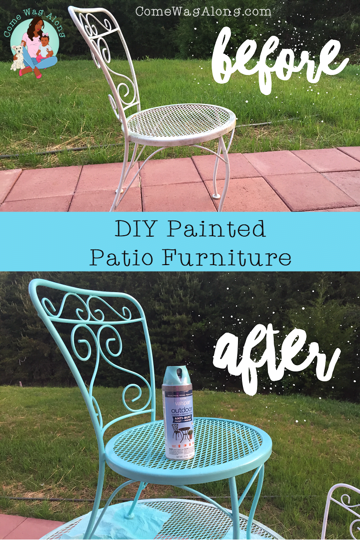 before and after painted metal patio furniture pin