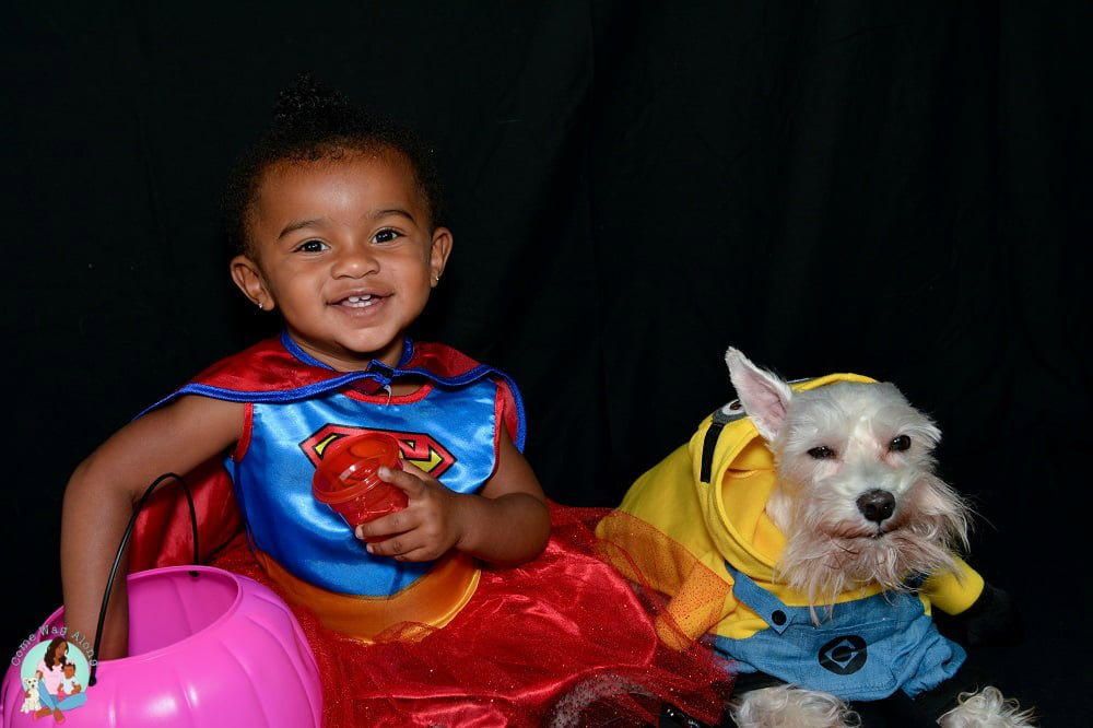 supergirl and minion dog and baby costumes