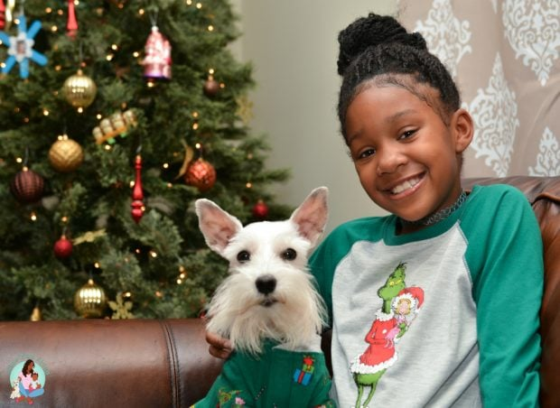 Matching Family Pajamas with Dog