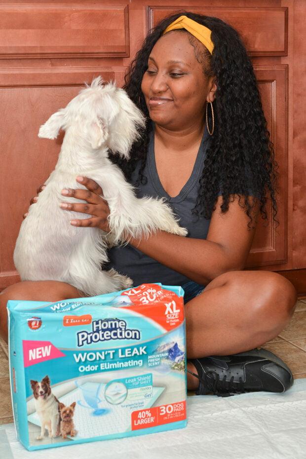 dog mom with senior dog using Hartz dog pads